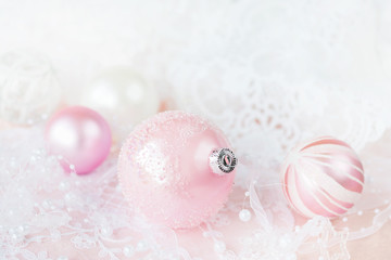 White and pink Christmas balls