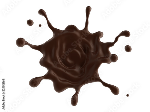 Wall mural coffee or hot dark chocolate dynamic splash isolated on white background