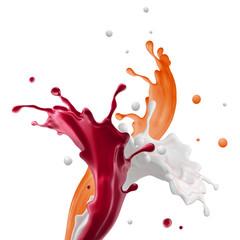 Wall Mural - 3d render, liquid pink red splash, mixed fruit yogurt drink, smoothie, wavy splashing, paint, isolated on white background