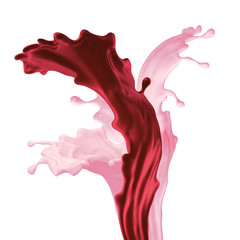 Wall Mural - 3d render, liquid red pink splash, mixed fruit yogurt drink, smoothie, wavy splashing, paint, isolated on white background