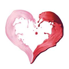 Wall Mural - 3d render, liquid pink red splash, mixed fruit yogurt drink, heart shape splashing, paint, isolated on white background