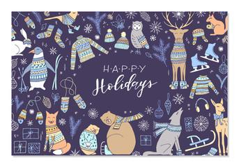 Christmas animal card.