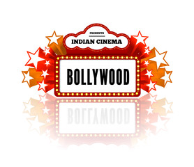 Bollywood is a traditional Indian movie. illustration with marquee lights