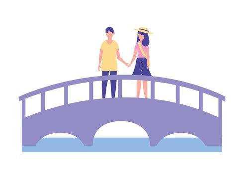 cute couple standing on the bridge