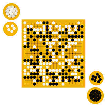Vector illustration of goban and bowls with stones in flat style. Go board game equipment. Template for presentation baduk positions. Weiqi, igo poster.