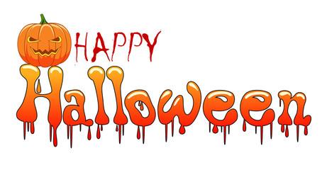 Happy Halloween background with pumpkin, haunted. Vector illustration