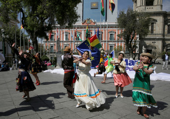 Bolivian students perform during demonstrations before the International Court of Justice (ICJ) verdict on Bolivia's ocean access next Monday, in La Paz