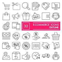 E-commerce with inscription line icon set, store symbols collection, vector sketches, logo illustrations, shop signs linear pictograms package isolated on white background, eps 10.
