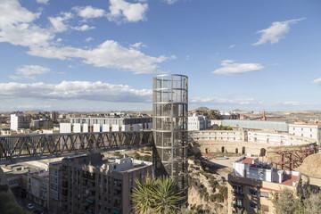 bridge and panoramic lift in Cartagena, Murcia, Spain