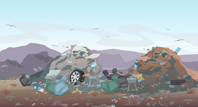 Vector illustration of landfill landscape with waste. Garbage dump background. Concept of Pollution Environment.