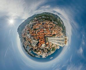 Mountains in Monaco Monte-Carlo city riviera Drone summer photo Air 360 vr virtual reality drone panorama