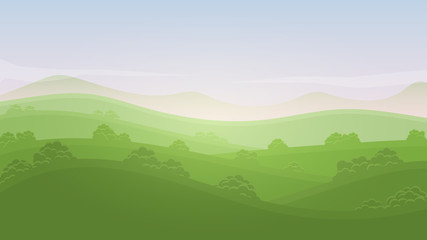 Green landscape summer rural valley nature banner hills template with sky, mountains, bushes and meadows