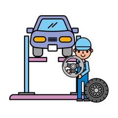 worker car lift wheel automotive service