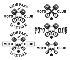 Skull motorcycle club Badges or Labels set With piston and spade. Ride fast Live free.