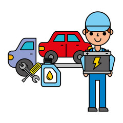 worker with battery crane truck repair automotive service