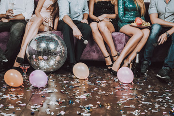 Close Up. Nightclub. Have Fun. Champagne.Birthday.