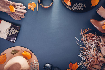 Autumn female outfit. Set of clothes, shoes and accessories. Copy space. Shopping concept