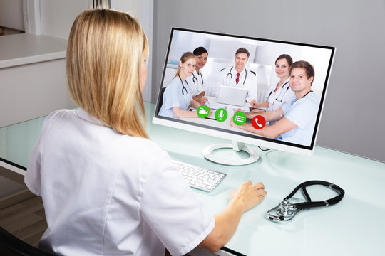 Doctor Video Conferencing On Computer