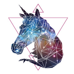 Abstract polygonal tirangle fantasy animal unicorn on open space background. Hipster animal illustration.