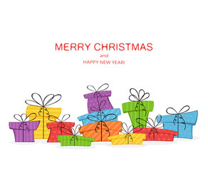 Colorful presents and lettering Merry Christmas on White Background