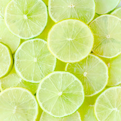Lime slice background. Food concept. flat lay, top view