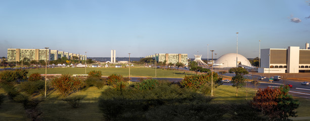 Panoramic view of Brasilia and Esplanada dos Ministerios (Esplanade of the Ministeries) - Brasilia, Distrito Federal, Brazil