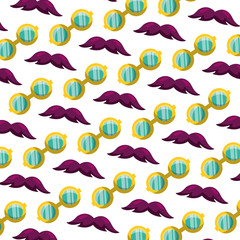 mustache and glasses accessories carnival party pattern