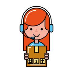 operator girl holding box online shopping