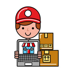 operator boy with laptop delivery boxes online shopping