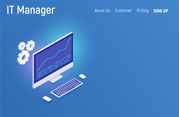 IT manager business concept. Modern isometric design website infographics illustration hero image web banner printed material. Vector illustration.