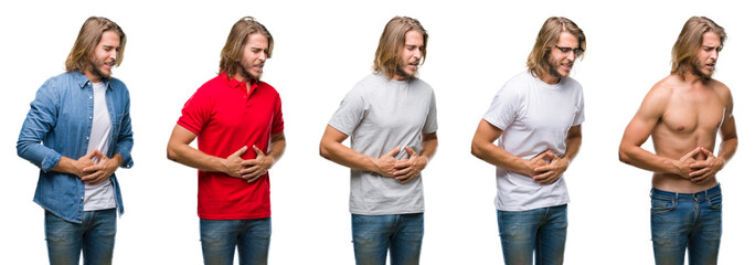Collage of handsome young man wearing casual look over white isolated backgroud with hand on stomach because indigestion, painful illness feeling unwell. Ache concept.