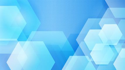 Abstract background of hexagons and halftone dots in white and light blue colors