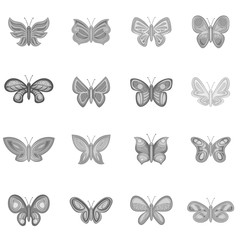 Butterfly fairy icons set in monochrome style isolated on white background