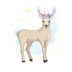 Deer cartoon illustration design.Cute bambi animal vector.Merry christmas card.
