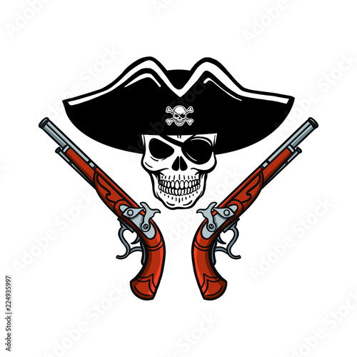 Hand Drawn Vector Pirate Skull With Beard Hat And Eye Patch T Shirt