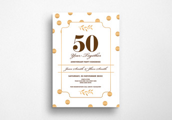 Anniversary Flyer Layout with Gold Circles