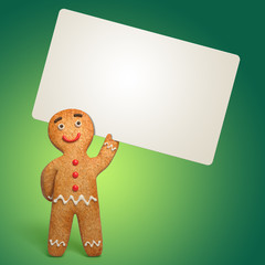 3d render, funny gingerbread man holding blank card, homemade cookie, Christmas cartoon character illustration, isolated on green background