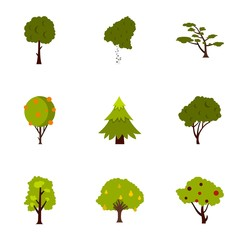 Kind of trees icons set. Flat illustration of 9 kind of trees vector icons for web