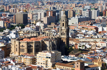 Cityscape  of  Malaga Spain including Cathedral