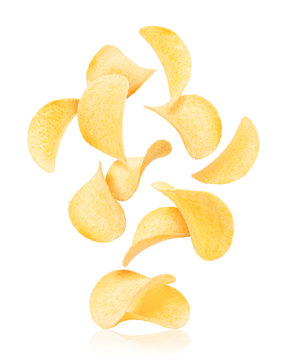 Potato chips rise up from the pile with chips, isolated on a white background