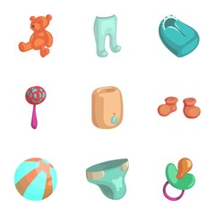 Products for newborns icons set. Cartoon illustration of 9 products for newborns vector icons for web