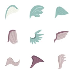 Abstract feather angel or bird wings icons set. Cartoon illustration of 9 abstract feather angel or bird wings vector icons for web