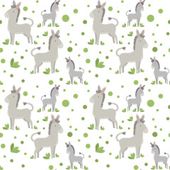 vector seamless pattern with cute and simple cartoon animal