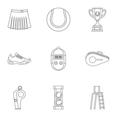 Tennis icons set. Outline illustration of 9 tennis vector icons for web