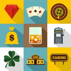 Casino game icons set. Flat illustration of 9 casino game vector icons for web