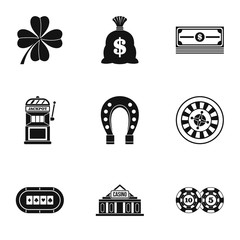 Casino game icons set. Simple illustration of 9 casino game vector icons for web