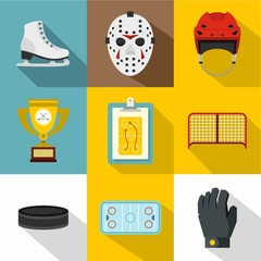 Canadian hockey icons set. Flat illustration of 9 canadian hockey vector icons for web