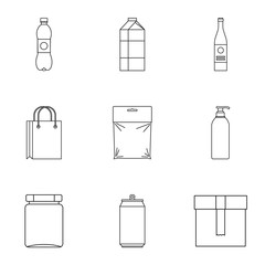 Packaging icons set. Outline illustration of 9 packaging vector icons for web