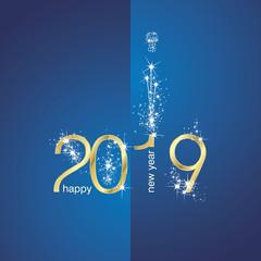 2019 Gold New Year firework champagne blue illustration