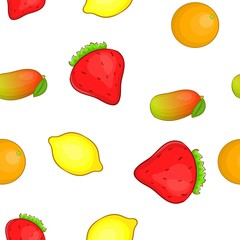 Farm fruits pattern. Cartoon illustration of farm fruits vector pattern for web